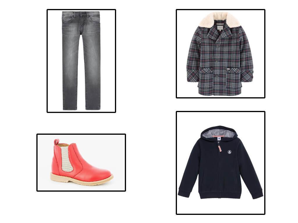Boys en skinny Levi's et manteau à carreaux Pepe Jeans