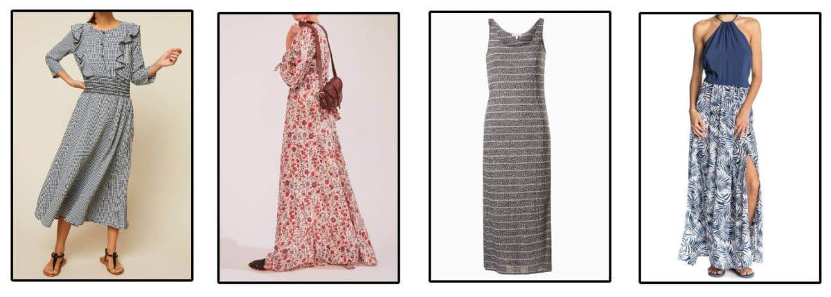 Look de femme robe longue avec du vichy, des fleurs ou des rayures